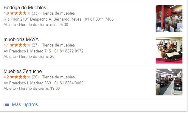 google my business busqueda de mueblerias
